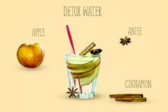 Detox water with apple, cinnamon and anise on a yellow background. The concept of healthy eating. Stock Photo