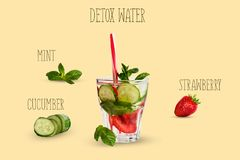 Detox water with cucumber mint strawberry on a yellow background. The concept of a healthy diet. Stock Photos