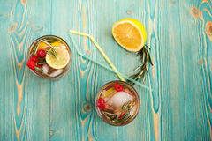 Detox water in cups Royalty Free Stock Photography