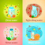 Detox Water 4 Flat Icons. Citrus honey fruits infused detox water body cleansing hydration fat burning 4 flat icons square vector illustration Stock Image