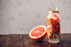 Detox Water with Grapefruit and Rosemary. Royalty Free Stock Image