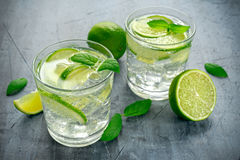 Detox water with green lime mint in glass cup Royalty Free Stock Image