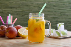 Detox water Juice with peaches Stock Photography