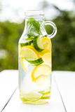 Detox water with lemon cucumber lime mint. Fat burning water in a glass bottle stock photos