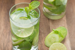 Detox water, lime with cucumbers and mint. Detox water, lime with cucumbers and mint in glass Royalty Free Stock Images
