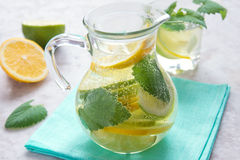 Detox water with lime, lemon and mint Royalty Free Stock Photos