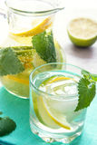 Detox water with lime, lemon and mint Stock Photos