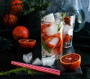 Detox water, refreshing cocktail with red blood orange, ice and rosemary. On dark background royalty free stock images
