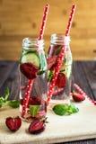 Detox woda natchnąca z owoc Lato wodna owoc na nieociosanym tle Obrazy Royalty Free
