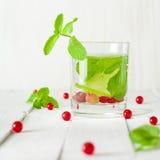 Detox woda w szklanej zlewce Jagody, wapno, czerwień i zieleń, świeże liść miętowy jasne białe tło Obraz Stock