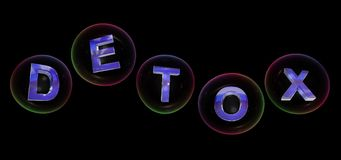 The detox word in bubble. The detox word in soap bubble on black background,3d rendered Stock Images