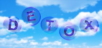 The detox word in bubble. The detox word in soap bubble on blue sky background,3d rendered Stock Photos