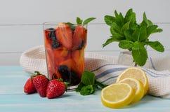 Detoxfrucht goss gewürztes Wasser hinein lizenzfreies stockfoto