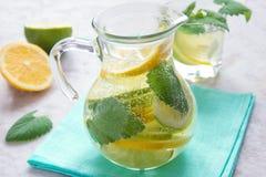 Detoxvatten med limefrukt, citronen och mintkaramellen royaltyfria foton