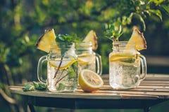 Detoxwasser mit Zitrone und Minze Stockbild