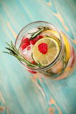 Detoxwater met citrusvrucht, framboos, rozemarijn in kruik Stock Foto