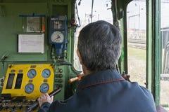 Detrás de ingeniero locomotor Fotografía de archivo