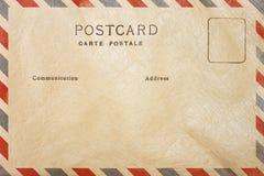 Detrás de la plantilla de la postal del espacio en blanco del correo aéreo imagen de archivo libre de regalías