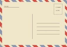 Detrás de la postal del espacio en blanco del correo aéreo imágenes de archivo libres de regalías