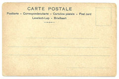 Detrás de la postal del espacio en blanco del vintage imagen de archivo