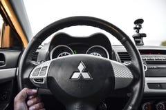 Detrás de la rueda generación del lancero de Mitsubishi del coche de la 10ma Fotos de archivo libres de regalías