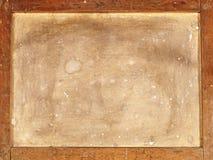 Detrás de la vieja lona en marco de madera. Imagen de archivo