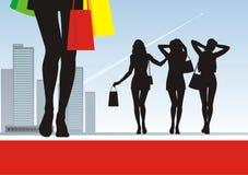 Detrás de las compras 3 stock de ilustración