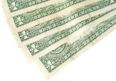 Detrás de los billetes de dólar uno Fotografía de archivo libre de regalías