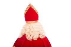 Detrás de Sinterklaas en el fondo blanco Imagen de archivo
