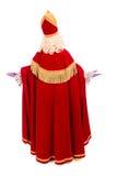 Detrás de Sinterklaas en el fondo blanco Foto de archivo