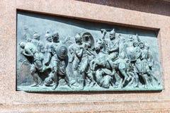 Detrás del alivio en el monumento a Minin y a Pozharsky en el MOS Fotografía de archivo