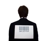 Detrás del hombre de negocios con el código de barras Fotos de archivo libres de regalías