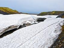 Detrital deposits för Snow i sommaren på nytt land Royaltyfria Foton