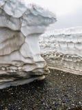 Detrital deposits för Snow i sommaren på nytt land Royaltyfria Bilder