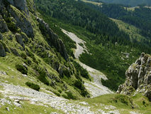 Detritus in Carpathian (Bucegi). Detritus fields are specific for western steep of Bucegi mountains Royalty Free Stock Photo