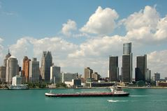 Detroi downtown skyline. Detroit skyline and riverfront during daylight Stock Photo