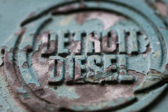 Detroid diesel. Detail of the engine cover of an abandoned crane stating the place of manufacture Royalty Free Stock Photo