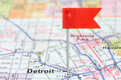 Detroit. Michigan. Red flag pin on an old map showing travel destination Royalty Free Stock Images