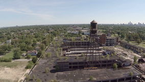 Detroit Aerial Packard Plant stock video footage