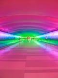 Detroit Airport Walkway - Neon. Vertical photo of Detroit Airport underground walkway Stock Image