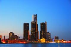 Detroit alla notte Fotografia Stock