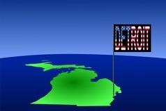 Detroit auf Michigan-Karte Stockfotos
