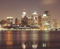 Free Detroit By Night Royalty Free Stock Photos - 86290048