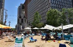 Detroit - Campus Martius. DETROIT, MI / USA - JUNE 30, 2019:  Visitors enjoying the beach at Campus Martius park stock images