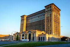 Detroit Central Station building. Historic Detroit Central Station building in abandonment stock images