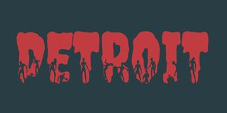 Detroit city name and silhouettes on them. Detroit city name and zombie silhouettes on them. Halloween theme background Royalty Free Stock Image