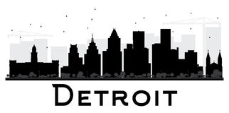 Detroit City skyline black and white silhouette. Simple flat concept for tourism presentation, banner, placard or web site. Cityscape with landmarks. Vector Royalty Free Stock Photo