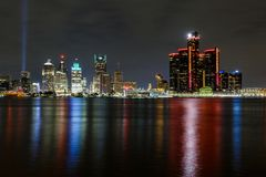 Detroit city, skyline view from Windsor, Ontario, Canada. Detroit river, international border between US and Canada stock photos