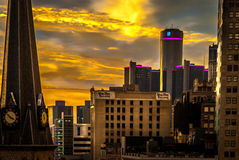 Detroit City Sunrise. Early morning downtown in Detroit looking at the sunrise over the Renaissance (GM) Building stock photos