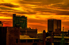 Detroit City Sunrise. Sunset over Detroit City and city buildings stock photography